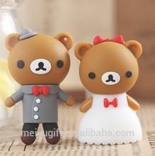 PVC cartoon teddy bear wedding gift USB flash drive,wedding gift customized flash drive usb
