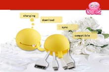 !!! Hot Sale Multi Function Phones Accessories and Parts Cute Octopus Shape 4in1 Charging Usb Data Cable