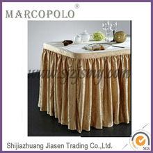 cheap polyester table skirting for wedding/ruffled table skirt/box pleats table skirt