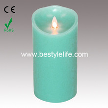 Blue Luminara Flickering Flameless Vanilla Scented Pillar Candle