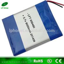 656480 high capacity 3.7v 8000mah li polymer battery pack for mid tablet pc