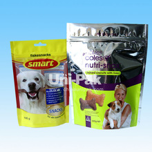 BPA free Custom Printed stand up dog treat bags with ziplock / Pet Snacks packaging bagswith zipper