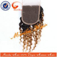 Wholesale top quality brazilian hair closure piece,two tone lace closure piece,cheap lace front closure piece