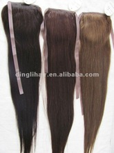 High quality silk straight bandage ponytail 100% human hair with natural color