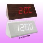 Triangle wooden table clock,modern LED digital wooden alarm clock,
