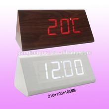 Triangle wooden table clock,modern LED digital wooden alarm clock