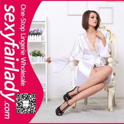wholesale high quality white satin lady pajama
