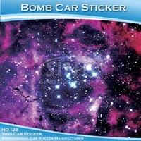 Top Quality Stretch Galaxy Glossy Purple Starry Graffiti Sticker Car Vinyl Wrap