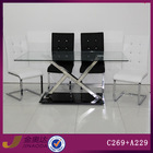C269 cheap stainless steel dining table with leather chairs