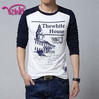 Hot selling mens long sleeve print t shirt manufacturing companies