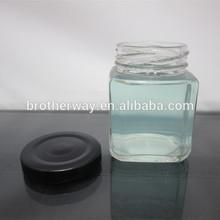 wholesale custom square 100ml transparent glass jam/honey jar with black tin plate