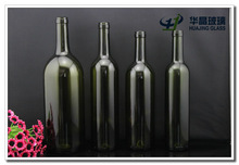 High quality all size dark green red wine glass bottle with cork wholesale Bordeaux bottle