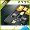 3 in 1 Nano SIM to Micro SIM / Standard SIM Card Adapters for iPhone 5 4S 4 - Black