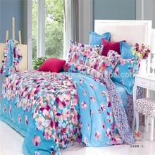 SN214 100% cotton reactive printed twill fabric blue lucky bedding set little flower sheet set european cotton fabric china