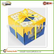 Custom Printed Cardboard Birthday Cake Boxes Packaging with window