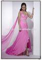 venda quente querida de um ombro chiffon com cercadura colorida superior e alta split beautiful india vestido de baile estilo gl0233