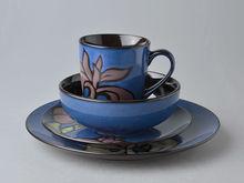 16pc stoneware hand printing dinner set porcelain