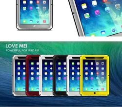 Love Mei Aluminum Waterproof Shockproof Case for iPad Air, for iPad Waterproof Gorilla Glass Aluminum Metal Case
