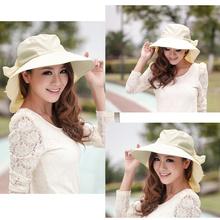 Fashion Women Foldable Wide Brim Self-tie Bow Summer Beach Floppy Cap Sunhat H3141