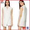 Sleeveless full lined italian winter coats for women all-over white satin trim softshell jacket
