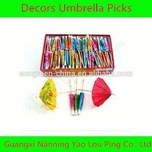 Cheap price umbrella cocktail toothpicks, single sharp wooden toothpicks