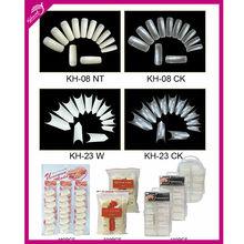 white clear glass color 100pcs 500pcs bag pvc box packing ABS salon professional dual system forms nail tips wholesale