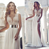 MZ-108 Tailor Made Heavy Hand Beaded Side Slit Sxey Wedding Dress Dubai Muslim Wedding Dress 2015