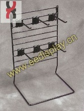 counter 6 peg hooks accessory display shelf / steel shop retail store key rings display stand