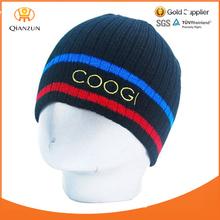 Pompom Winter Hip Hop Mens Stripe Beanie Black Hat cap Headwear
