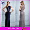 EDE420 Elegant Jewel Neck Pleated Crystal Beaded Sheath Evening Formal Dress