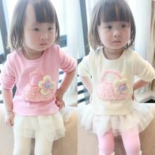 Korean children clothing wholesale children's boutique clothing fashion cotton flower girls t shirt(M20474A)