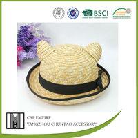 Lovely Women Summer Beach Sun Straw Hat Cat Ears Fedora Cap