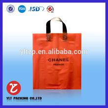 No.1223 orange custom printed ldpe plastic die cut shopping bags with handle