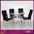 C265+a225 muebles para el hogar de vidrio de mesa redonda superior de vidrio y metal mesa de comedor conjunto