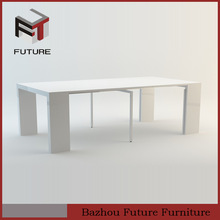 2014 new design modern MDF and painting iron pipe extension dining table