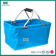 Supermarket hand held folding shopping basket
