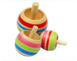 Wooden toys wooden color magic inverted rotating gyroscope will flip the gyro
