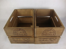 Customized Vintage Wooden Crate With Printing Logo