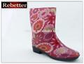 Fancy pvc transparente chuva boot/sapatos de salto alto para as crianças