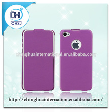 Elegant Purple flip cases cover,Smart edge folding special for Iphone 4