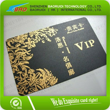 Best quality gold stamping plastic business cards black