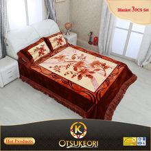Korean style Raschel 3pcs blanket and bedsheet