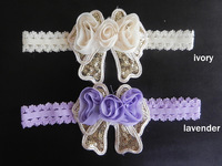 ivory lavender sequin bow lovely fancy baby headbands
