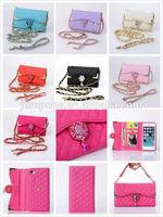 3 fold Plaid pattern Colour Diamond Flower Pendant pouch wallet leather Case Cover for iphone 5 5s 5g 5gs