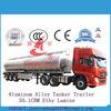 49500Litres aluminum Octane transport trailer fuel tanker aluminum tanker semi trailer