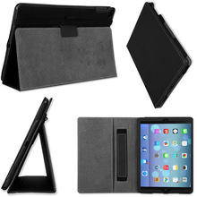 Folio with hand strap and corner protection leather case For Apple's IPAD 6