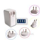4 ports usb swiss travel charger adapter with worldwide plugs of US, UK, AU,EU