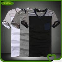 2014 Custom fashionable short sleeve striped men's v shape t shirt with pocket