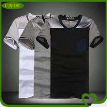 2014 Custom fashionable short sleeve striped men's v shape t shirt with pocket