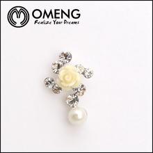 White Epoxy Resin Rose Flower Jewelry Crystal Dangle Pearl Stud Earring
